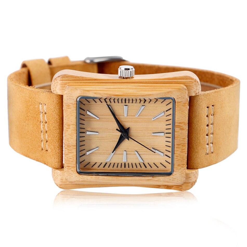Minimalist Creative Wooden Watch Modern Woman Rectangle Dial Bamboo Leather Band Nature Wood Quartz Wrist Watch Reloj de madera (2)