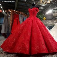 LS3392 röd pläterad kvällsklänning älskling spets blommor spets upp bakbollklänning formell klänning vestido longo de festa verkliga bilder
