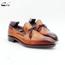 Cie vierkante teen strikje patina bruin boot schoen handgemaakte mannen slip on casual goodyear welted volnerf kalfsleer loafer 186