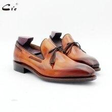 Cie vuông toe bow tie lớp gỉ nâu thuyền giày handmade men của slip on casual goodyear welted đầy đủ hạt bê da đi rong 186