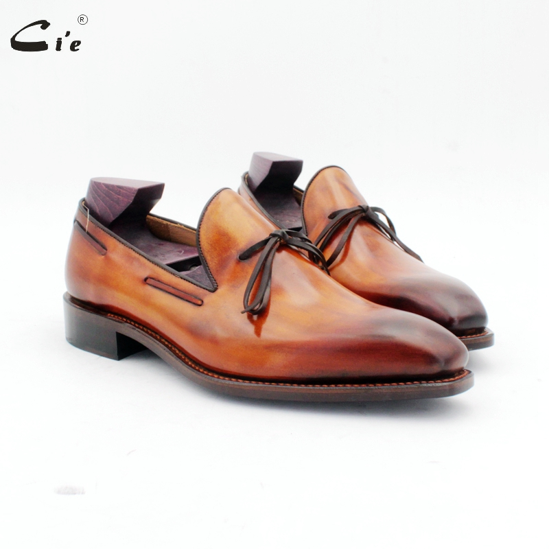 cie square toe bow tie patina brown boat shoe handmade mens slip-on casual goodyear welted full grain calf leather loafer 186