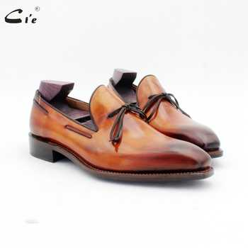 cie square toe bow tie patina brown boat shoe handmade men's slip-on casual goodyear welted full grain calf leather loafer 186 - DISCOUNT ITEM  44% OFF All Category