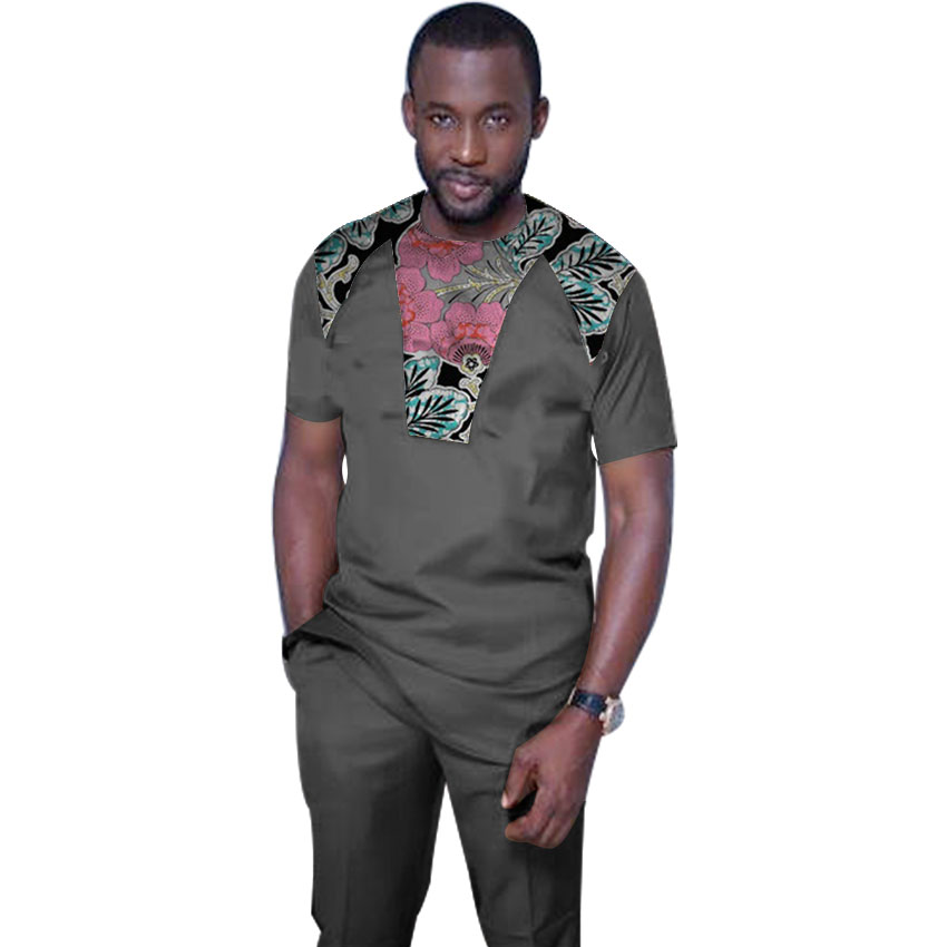 Imprimé africain hommes chemise + pantalon ensemble vêtements à manches longues hauts avec pantalon long dashiki hommes tenue patchwork design