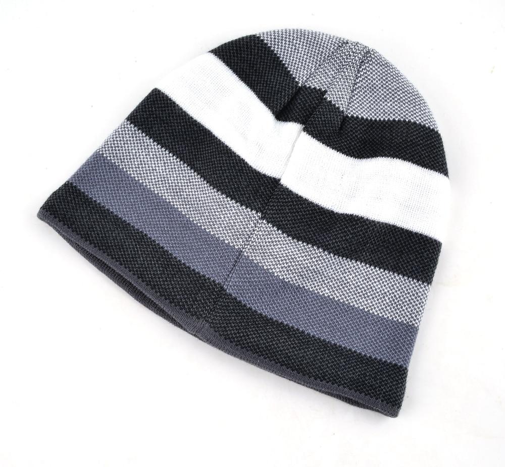 Men's Skullies Hat Bonnet Winter Beanie Knitted Wool Hat Plus Velvet Cap Thicker Stripe Skis Sports Beanies Hats for men 2