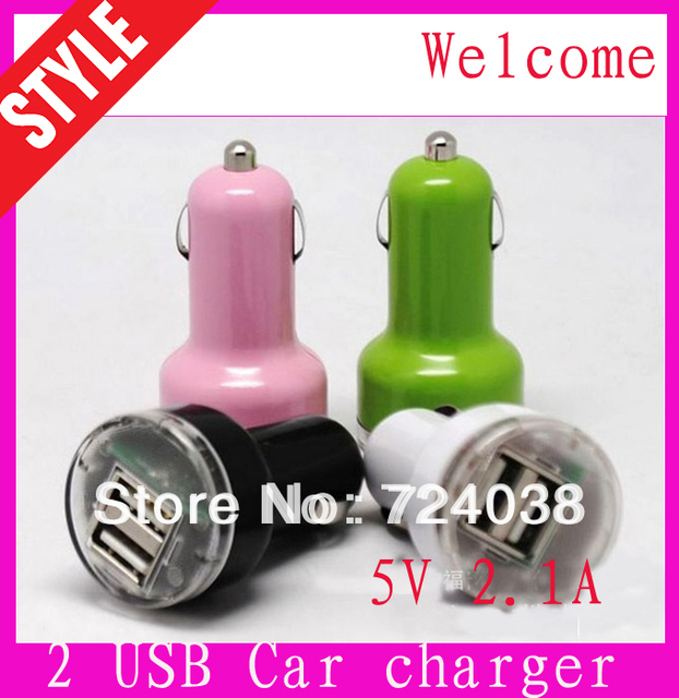 Wholesale discount  2-Port Dual USB Car Charger for iPhone 4s iPod ipad galaxy all phone 5V-2.1A(not tracking number)
