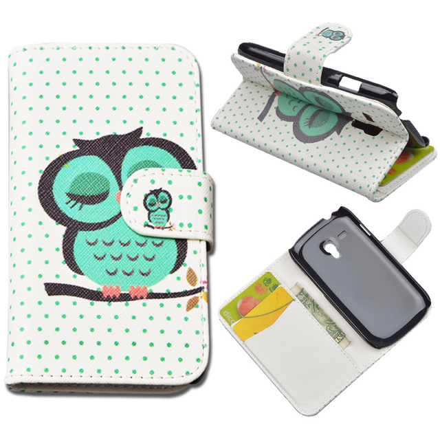 JR Luxury Painting Flip PU Leather Hard Case For Samsung Galaxy S3 Mini i8190 GT-I8190 Wallet Cases Back Cover With Card Holder