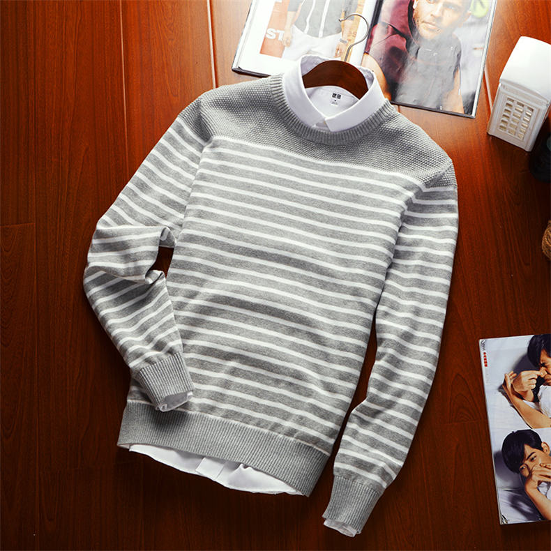 MuLS 2019 Spring Knit Sweater Men Pullover Striped Sweater Jumpers Autumn Male Cotton knitwear Youth Blue Black Grey Size M-3XL 9