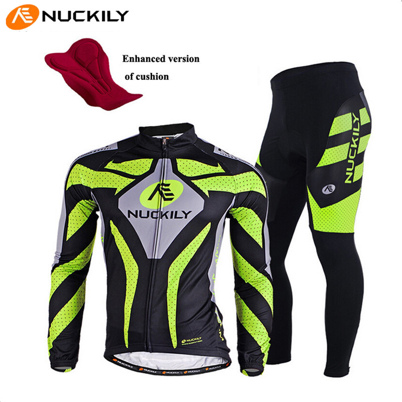 NUCKILY Long Sleeve Breathable Cycling Clothing 3D Gel Pad Pants Sport Clothes Autumn MTB Road Bike Bicycle Cycling Jersey Set wosawe men s long sleeve cycling jersey sets breathable gel padded mtb tights sportswear for all season cycling clothings