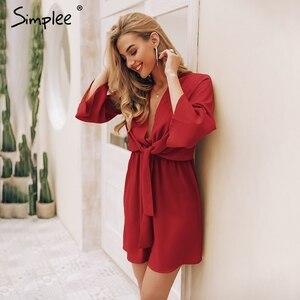 Image 3 - Женское черное платье Simplee, винтажное привлекательное шифоновое короткое красное платье с длинным рукавом и завязкой в виде банта для офисных дам, 2019