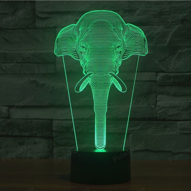 Us 12 99 Hot Ing Lights Touch Switch Novetly Lighting Illusion Usb Led Night Light Colorful Acrylic Elephant Lamp In From