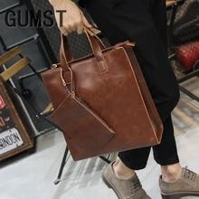 GUMST New Vintage Crazy Horse PU Leather Men handbag Business Men Messenger Bags Men's Shoulder Bags Man CrossBody Bag