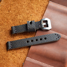 Onthelevel Genuine Leather 18mm Watch Strap Hand-stitched Wax Line Aircraft Buckle Band Wristban #E