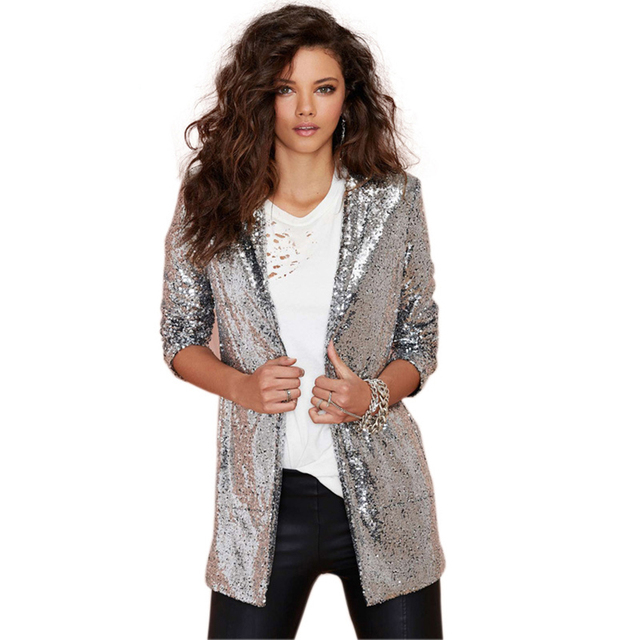 più recente d68fc 37f28 US $33.07 |Argento sequin lungo elegante blazer marca make a manica lunga  donna blazer e giacche tasca 2015 di modo cardigan jaqueta feminina in ...