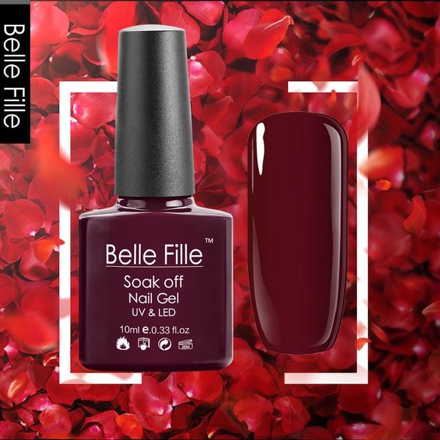 Belle Fille אדומה יין החדש צבעים לק ג 'ל UV LED ג' ל נייל בקבוק ג 'ל לכה לכה ג' ל צבעוני אדום כהה Lak אמנות