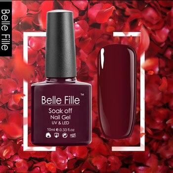 930e4ef2cb Belle Fille más nuevo vino rojo colores Gel esmalte de uñas UV LED Gel Lak  Gel barniz oscuro rojo Gel laca botella colorida arte de uñas
