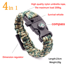 HOMOD 4 in 1 Emergency Survival Bracelet For Men Whistle Compass Paracord Bottle Opener Outdoor Rescue Parachute Cord Wristband цена