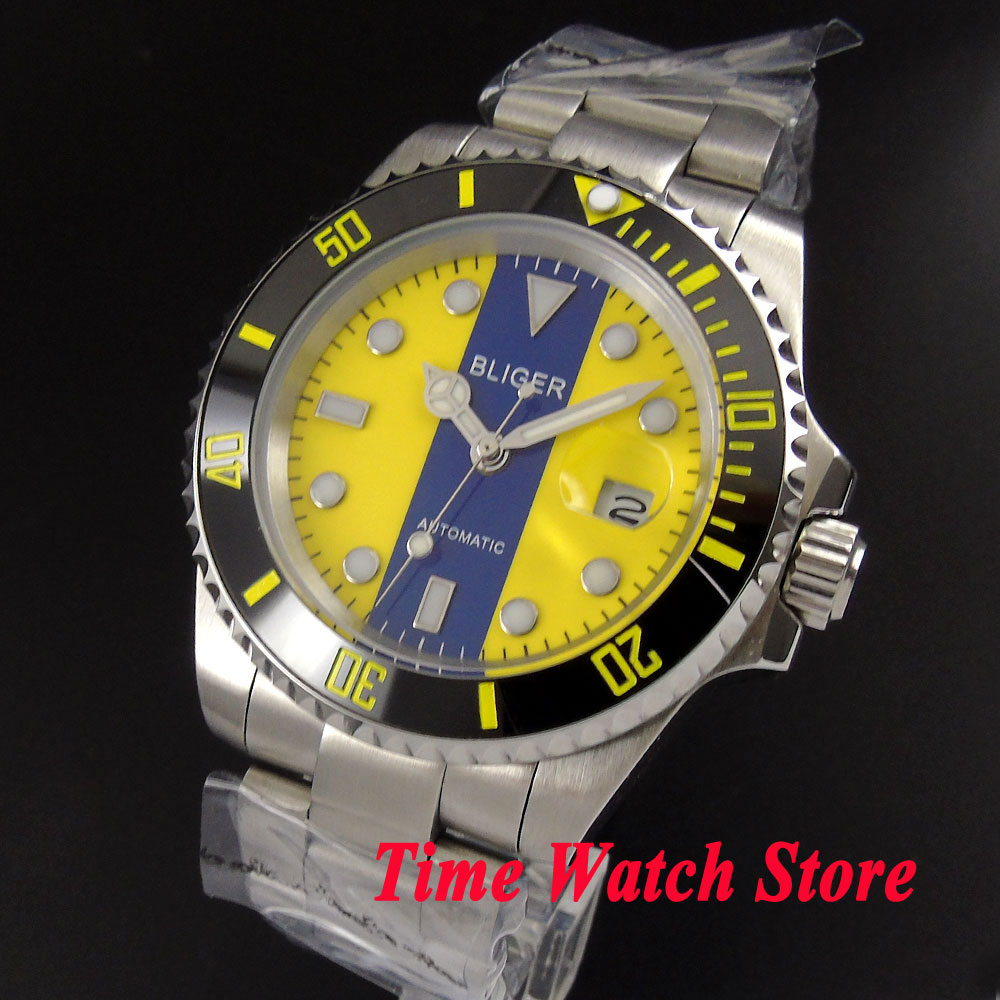 Bliger 40mm yellow blue dial saphire glass date magnifier Ceramic Bezel Automatic movement Men's watch BL132 цена и фото