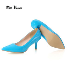 Qin Kuan Fashion Pointed Toe Women Shoes Patent Leather Ladies High Hee