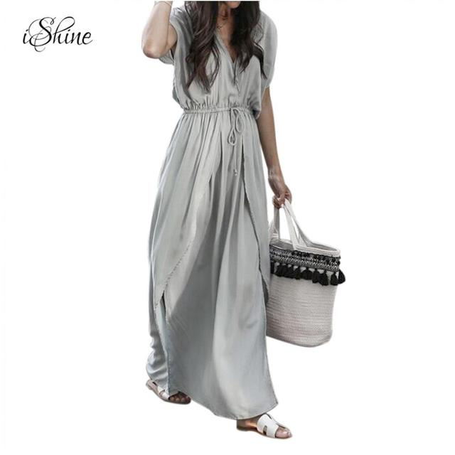 ac80875905ad Women V-neck Straps Sashes Long Grey Beach Dress Solid Casual Loose Short  Sleeve Tunic