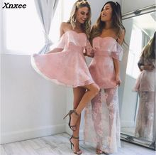 Xnxee 2018 Sexy Off Shoulder Slash Neck Summer Dress Women Elegant Backless Mini Ruffles Fashion Evening Party