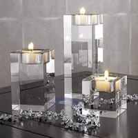 3pcs Different Sizes Crystal Glass Candle Holders Square Solid Proposal Wedding Candlestick Decoration Free Shipping