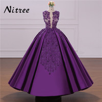 African Ball Gown Purple Evening Dresses Turkish Arabic Dubai Crystal Prom Dress For Wedding Moroccan Kaftan
