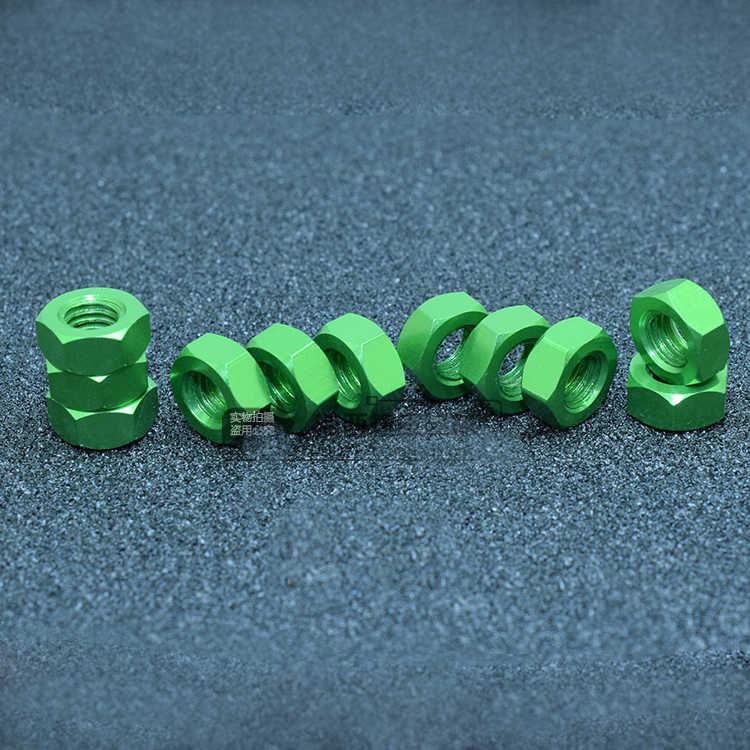 10pcs M3 M4 M5 M6 Aluminum Hexagon Green Color Locking Nuts Hex nut