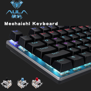 AULA Mechanische Gaming Toetsenbord LED Backlit 104 Toetsen PC Desktop computer laptop Toetsenbord Russisch Arabisch Hebreeuws Spaans