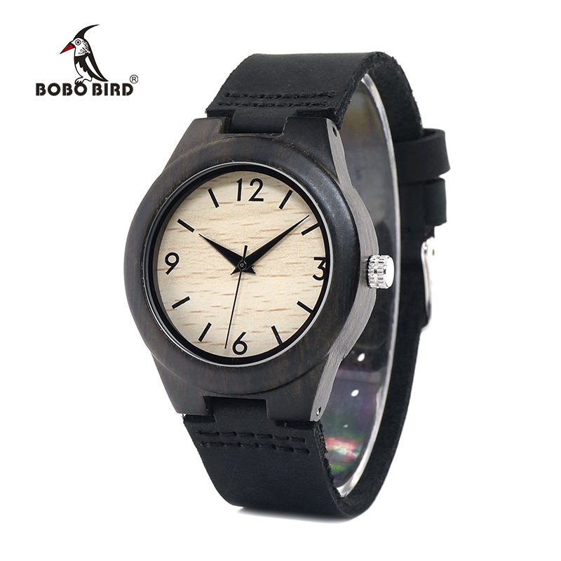 BOBO BIRD WE28 Luxury Womens Ebony Wooden Watches Wrist Watch Dress Style Female Casual Ladies Relojes De Marca Relogio Gift