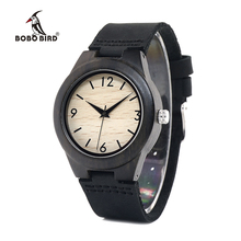 BOBO BIRD WE28 Relojes De madera De ébano para mujer, reloj De pulsera, estilo De vestido, informal, regalo