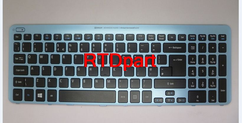 ФОТО Laptop Keyboard For ACER AS V5-571 MS2361 TURKISH TUR NK.I1717.07V 9Z.N8QBW.K0T NSK-R3KBW0T Black&backlight&Blue Frame