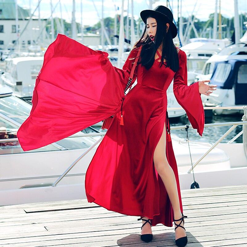 MX] automne printemps femmes nouveauté personnalité élégant Slim Vintage Flare manches Sexy haute fentes vin rouge velours Maxi robe
