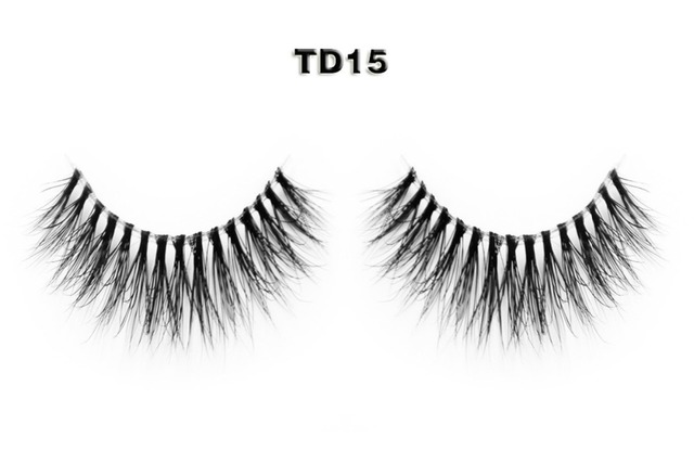 4 style Good Sale 3D Transparent Stems Band Handmade Natural Authentic Mink False Eyelashes TD15 TD16 TD18 TD19