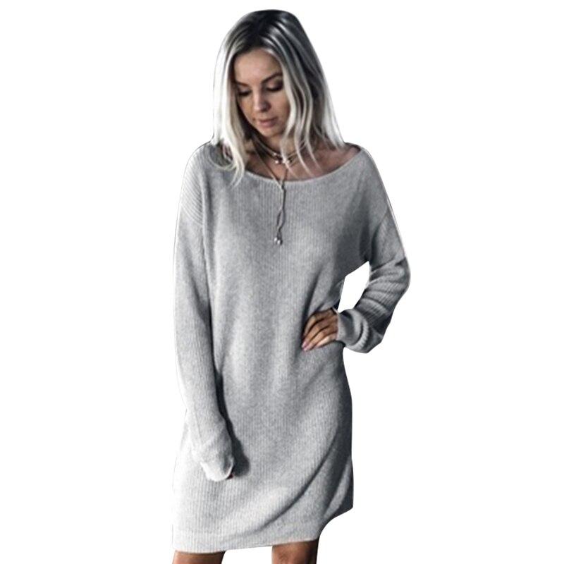 Autumn Winter Knitted Dresses Women Casual Sweater Dresses Plus Size Split Pullover Long Sleeve Dress LJ5896E