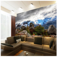 Wall Panel Wallpaper Snowy Mountains Clouds Stone Photography Background Modern Mural For Living Room Large Painting
