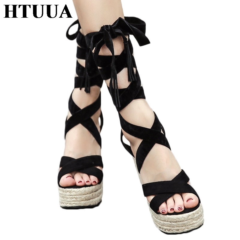 HTUUA 2018 New Summer Wedges Sandals Women Platform Shoes Model Designer Grass Weave Casual Lace-Up Cross-tied High Heels SX1107 цена