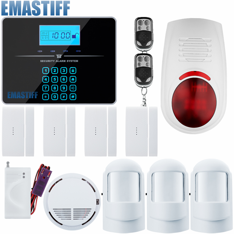 APP Wireless GSM PSTN arm/disarm Autodial Home Alarm System +smoke/fire detector+water sensor wireless remote control arm disarm detector for fuers touch keypad panel gsm pstn home security burglar voice alarm system