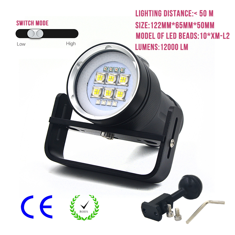 High-Power LED Torch Light Professional Waterpoof Flashlight Diving Video Camera Photography Strong Lighting Flashlight 12000LM 6000lumens bike bicycle light cree xml t6 led flashlight torch mount holder warning rear flash light