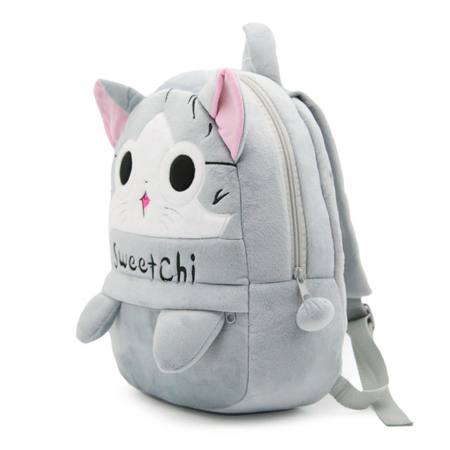 67f001cfad Cartoon Sweet Cat Plush Backpacks Children Baby School Bag For Kindergarten Boys  Girls Cute Schoolbag