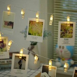 5M 50LEDS LED Garland Card Photo Clip String Lights Fairy Decor Lights Xmas Bedroom DIY Clothespin Shapes Battery Christmas Lamp