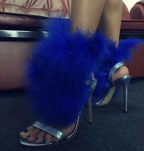 d9ad9d892200 Drop Shipping Summer New Brand Women Blue Synthetic Fur Feather Open Toe Buckle  Strap 100 mm Stiletto Heel Sexy Party Sandals - aliexpress.com - imall.com