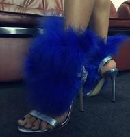 Drop Shipping Summer New Brand Women Blue Synthetic Fur Feather Open Toe Buckle Strap 100 mm Stiletto Heel Sexy Party Sandals