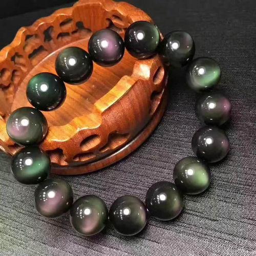 Livraison gratuite Naturel obsidienne main chaîne bracelet Couleur yeux Très beautifu Avec certificat