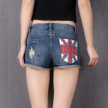 Hot Plus Size Short Jeans Women Denim Shorts Slim Skinny Frayed Hole Female Flag Printed Cool Shorts Sexy Women Clothings Female