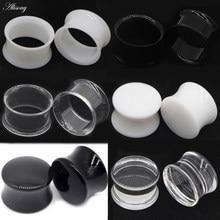 2 pçs branco preto transparente acrílico orelha túnel plug orelha calibres piercing duplo curvo sela expansor maca corpo jóias