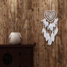 1PC Handmade Lace Dream Catcher Feather Bead Hanging Decoration Ornament Gift Colorful Craft Dreamcatcher heart Wind Chimes