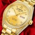 Мужские автоматические часы MIYOTA  полностью Золотые механические часы с календарем и подсветкой
