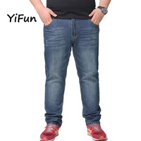 YiFun Spring Autumn Best Quality Brand Cotton Relax Loose Causal Straight Stretch Designer Jeans Large Size