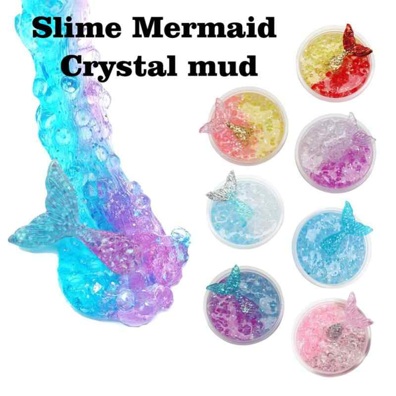 60ml Mermaid Mud Mixing Cloud Slime Putty Scented Stress Kids Clay Toy Water Beads Magic Ball Crystal Soil Kids Gift Toys Forma