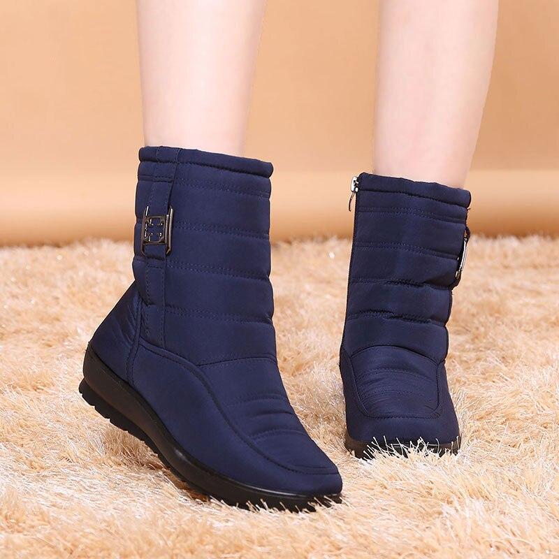 Женские меховые ботинки, зимняя обувь 2020, новые удобные нескользящие женские ботинки, ботинки на платформе, теплые водонепроницаемые повседневные ботинки с пряжкой boot shoes waterproof snowsnow boots   АлиЭкспресс
